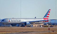 American 777 taxiing (Flight 126 from Hong Kong) at DFW Airport, 29 Dec 2019