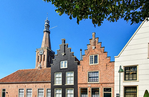 Medemblik with the tower of the Bonifaciuschurch (The Netherlands)