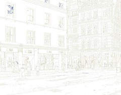 Ghostly Suits in the Empty City Line Drawing