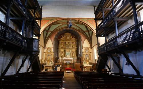 Nef et tribunes, église Notre-Dame de l'Assomption, Ascain, Pays basque, Pyrénées-Atlantiques, Nouvelle-Aquitaine, France.