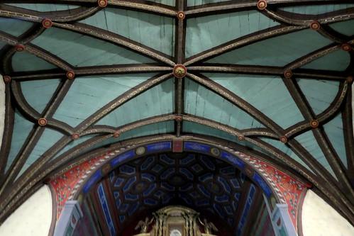 Voûte du chœur, église Notre-Dame de l'Assomption, Ascain, Pays basque, Pyrénées-Atlantiques, Nouvelle-Aquitaine, France.