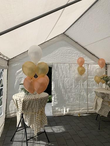 Tafeldecoratie 6ballonnen Gronddecoratie Rose Goud en Wit