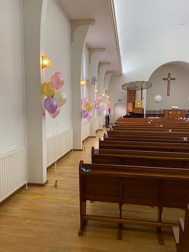 Tafeldecoratie 5ballonnen Gronddecoratie Schotse Kerk Rotterdam