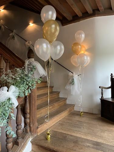 Tafeldecoratie 6ballonnen Gronddecoratie Kasteel van Rhoon