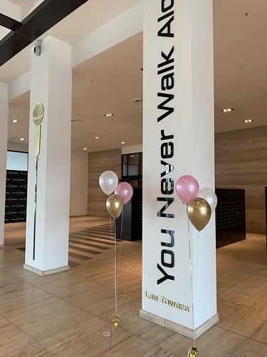 Tafeldecoratie 3ballonnen Gronddecoratie Lee Towers Marconiplein Rotterdam