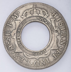 Holey Dollar, New South Wales, minted 1813, from Spanish silver dollar minted in 1798