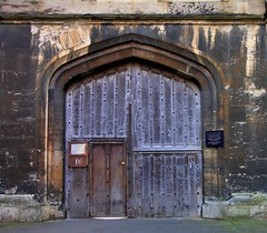 Chapel double doorway, New College, University of Oxford, England.