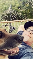 iPhone photo of Mazzie and myself in the hammock.
