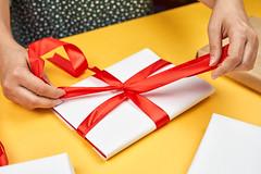 A woman making Christmas gift