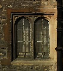 Old double window, University of Oxford, England.