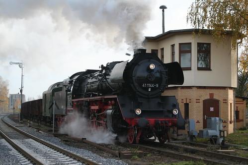 2008-11-01; 0052. IGE Werrabahn 41 1144-9 met WEG 47. Immelborn. Plandampf 2008, Dampf trifft Kies.