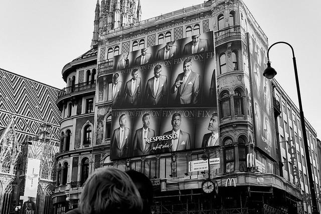 George Clooney on Stephansplatz. BW.