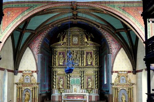 Chœur baroque, église Notre-Dame de l'Assomption, Ascain, Pays basque, Pyrénées-Atlantiques, Nouvelle-Aquitaine, France.