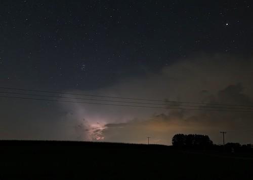 Sheet lightning & Pleiades & Mars