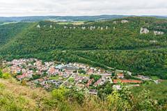 Bird eye picture of the German city of Honau underneath Lichtenstein Castle and surrounding landscape