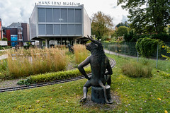 Statue of a sitting bull in front of Hans Erni museum in Lucern, Switzerland