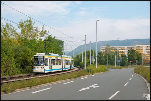 16-08-20 Jenaer Nahverkehr AEG GT6M 605, Jena - Karl-Marx-Allee