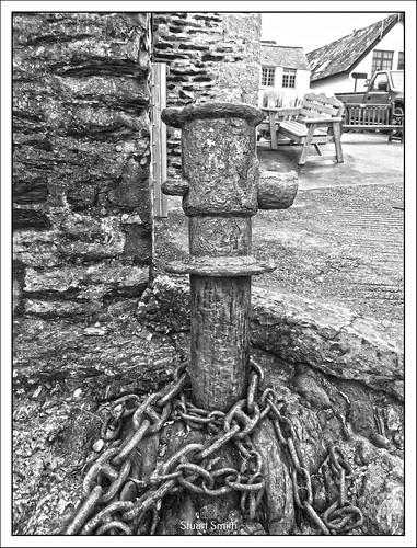 Rusted Mooring Bollard, Slipway, Port Isaac, Cornwall, England UK