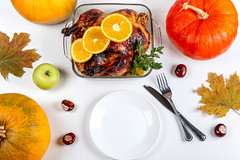 Top view, thanksgiving set table background