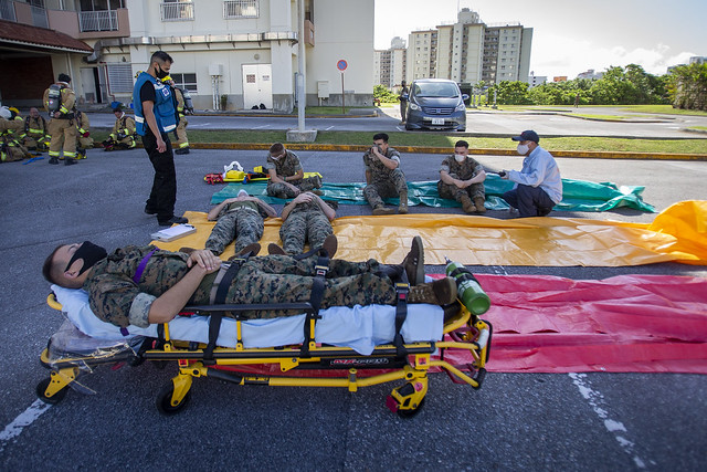 Photo:Fire fighters and Marines treat simulated casualties during Constant Vigilance 2020 in Japan By #PACOM