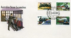 Australian steam locomotives postage stamps on a first day cover (1979)