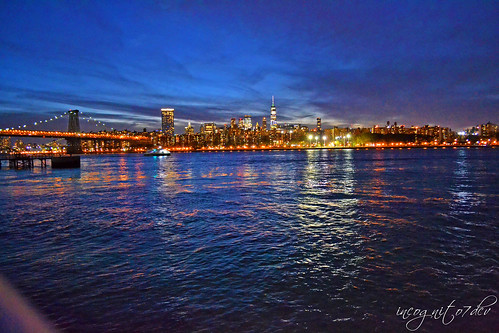 Lower Manhattan & Williamsburg Bridge Blue Hour View from Grand Ferry Park Williamsburg Brooklyn New York City NY P00660 DSC_1539