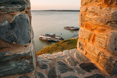 View from the fortress wall of the boats in the small dock in Ram, Serbia