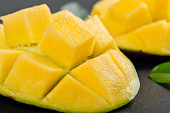 Close-up of slices of ripe mango