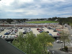Adelaide. Bedford Park. Beyond the first car park is the new soon to be completed elevated raiwayl line from Clovelly Park to Flinders Hospital and Flinders University.