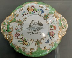 Adelaide. In the Art Gallery of South Australia some 19th century English porcelain by Copelands for a colonial shipping company depicting kangaroo and emu.