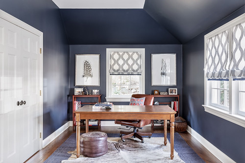 Architectural interiors photography of a dark blue office in a Riverside, Connecticut home.