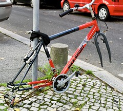 A very careful bicycle owner that removed: - the front and back wheel and the saddle and has applied a sophisticated padlock