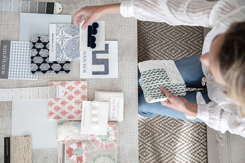 Interior design photography of fabric swatches