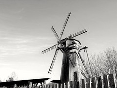 Wooden mill in clear sky