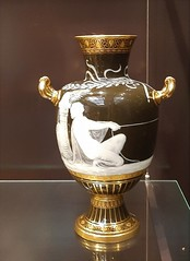 Adelaide. In the Art Gallery of South Australia. A superb glass urn about 1891 to 1902 by the Minton factory.  Decorator L Solon. Pate-sur-pate glass work.