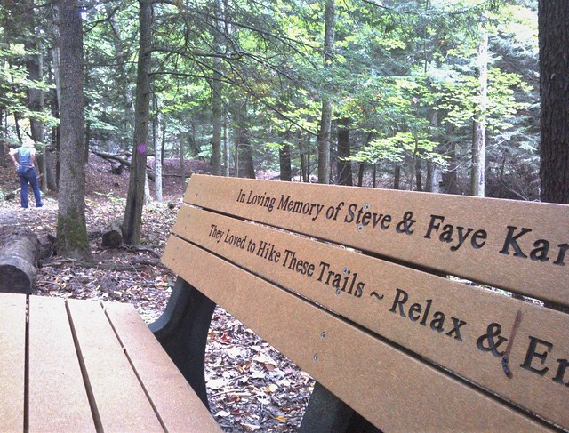 Photo:Hiker memorial bench at P J Hoffmaster State Park By anthroview