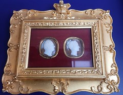 Adelaide. In the Art Gallery of South Australia. Carved cameos of King William IV and Queen Adelaide after whom the colonial capital was named.