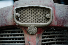 IMT logo on old tractor. Front view.