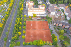 Aerial view of tennis courts in Cologne, Germany