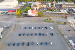 Aerial view of a drive-in cinema during the coronavirus lockdown in Cologne, Germany