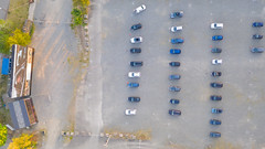 Top-down aerial of a drive-in cinema in Cologne, Germany