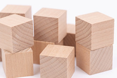Pile of Wooden Cubes with copy space