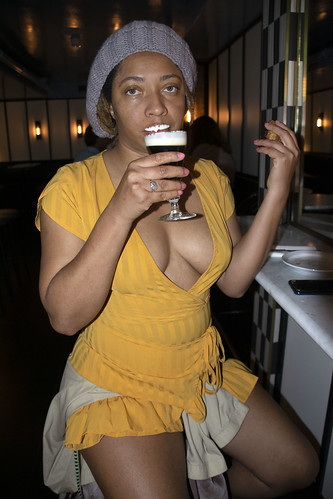 DSC_7017 Alesha from Jamaica Out on the Town in Yellow Mini Dress with Décolleté Low Neckline Beautiful Cleavage Irish Coffee with Fresh Cream Swift Cocktail Bar Shoreditch London 91 - 93 Great Eastern Street