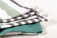 Close-up, kitchen towel with green and gray stripes