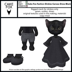 Cake Fox Fashion Dinkies Canvas Dress Black