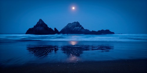 Autumn Moon Setting - Seal Rock, California, USA