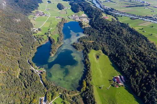 World of lakes: bird's eye view of the Kramsach plateau in Tyrol, extremely rich in waters
