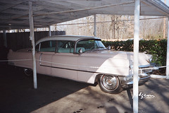 Elvis Presley's pink 1955 Cadillac Fleetwood Series 60 at Graceland, Elvis Presley Blvd, Memphis, TN, 8 Jan 1987