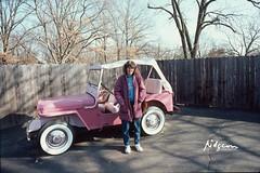 Liz with Elvis Presley's pink 1960 Jeep Surrey CJ3B at Graceland, Elvis Presley Blvd, Memphis, TN, 8 Jan 1987