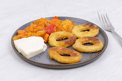 Fried Fish Rings with cheese and Vegetables
